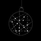 White christmas ball on black background Vector Illustration