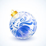 White christmas ball with blue floral ornament. And golden ribbon Royalty Free Stock Image