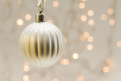 White Christmas ball with blurred lights Stock Photography