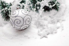 White christmas ball decoration Stock Photos