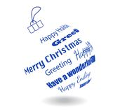 A White Christmas Ball Of Made Greeting Phrases Royalty Free Stock Photo