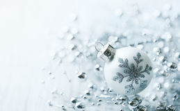 White Christmas ball with snowflake Stock Photography