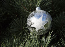 Silver Christmas Ball with Star Royalty Free Stock Photography