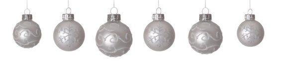 White Christmas balls Stock Photos