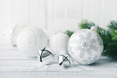 White Christmas Balls Royalty Free Stock Photography