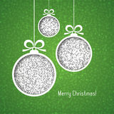 White Christmas balls, made of silver glitter, cut paper on green background. Bright elegant vector card in traditional colors Royalty Free Stock Images