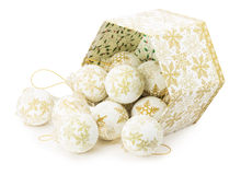 White Christmas balls with ornament isolated on the white backgr Stock Images