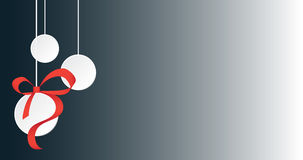 White Christmas balls with ribbon and copy space Stock Photography