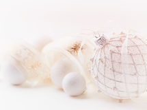 White christmas balls with satin ribbon Stock Photography