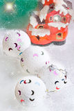White christmas baubles Stock Photos