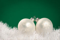 White Christmas baubles Stock Photography