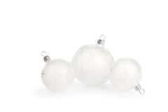 White Christmas Baubles Stock Image