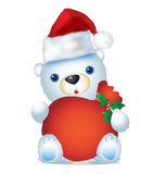 White christmas bear with sack sitting Royalty Free Stock Photos
