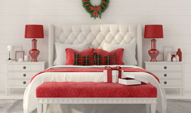 White Christmas bedroom with gifts Stock Photos