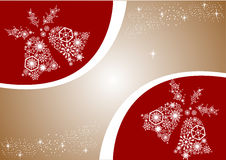White Christmas bells. Red and gold background. Holiday card wit. H snowflakes Royalty Free Stock Image