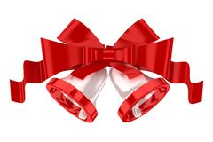 White christmas bells with red ribbon Royalty Free Stock Photography