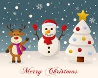 White Christmas - boneco de neve & rena Fotos de Stock
