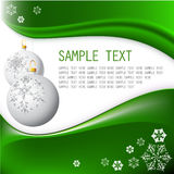 White Christmas bulbs. With snowflakes on fresh green background royalty free illustration