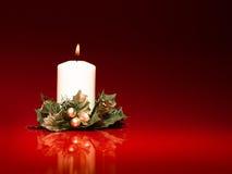 White christmas burning candle Stock Images