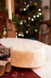 White Christmas Cake covered in snowflakes. Beautiful White Christmas Cake covered in sparkling glitter balls and snowflakes Royalty Free Stock Photo