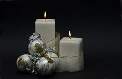 White Christmas candles. Stock Images
