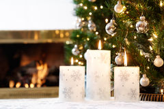 White Christmas candles Royalty Free Stock Images