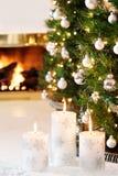 White Christmas candles Stock Image
