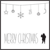 White Christmas card with black text and silhouette of Santa Claus. vector illustration. White Christmas card with white silhouette of Santa. vector illustration Stock Photos