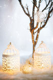 White Christmas card. Decoration with lanterns. Vintage, retro composition. Selective focus on white bauble Royalty Free Stock Photos