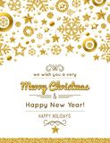 White christmas card with golden glittering snowflakes and stars. Vector illustration vector illustration