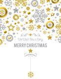 White christmas card with golden and silver glittering snowflake. S and stars, vector illustration stock illustration