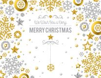 White christmas card with golden and silver glittering snowflake. S and stars, vector illustration royalty free illustration