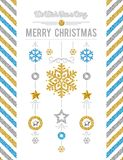 White christmas card with golden and silver glittering snowflake. S and stars, vector illustration vector illustration