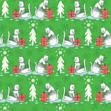 White Christmas Cat in Embroidery Sweater Seamless Vector Pattern stock illustration