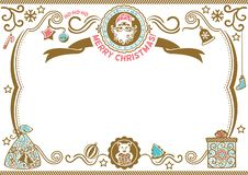 White Christmas certificate with Santa and Pig. Symbol of 2019. H-ho-ho Merry Christmas stock images
