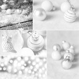 White Christmas collage with Christmas decoration stock photos