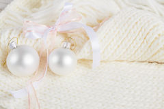 White Christmas composition on knitted background Stock Photography
