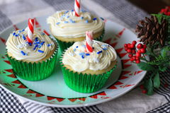 White Christmas Cupcakes Stock Photography