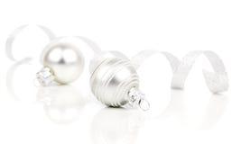 White christmas decoration balls with satin ribbon Royalty Free Stock Photos