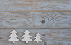White christmas decoration christmas tree on a old grey wooden background with empty copy spac Stock Photo