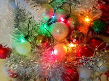 White Christmas decoration colorful ,white balls silver garland,christmas light,decoration ,illumination ideas stock photos