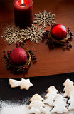 White Christmas - Decoration and cookies. Christmas decoration , red candle and cookies Royalty Free Stock Photo