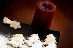 White Christmas - Decoration and cookies. Christmas decoration , red candle and cookies Stock Photos