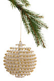 White christmas decoration hanging from branch Royalty Free Stock Images