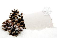 White christmas decoration with wishes card on snow Royalty Free Stock Photo