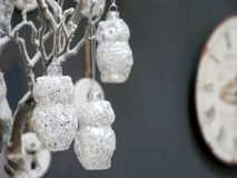 White christmas decorations on the background. Stock Photography