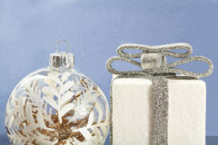 White Christmas decorations on blue background Stock Photo