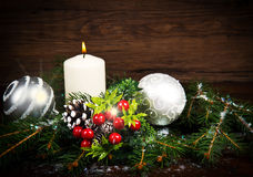 White Christmas decorations on spruce branches Stock Photos
