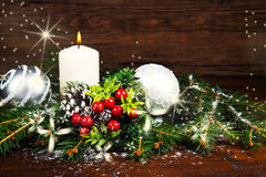 White Christmas decorations on spruce branches Stock Photography