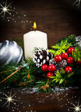 White Christmas decorations on spruce branches Royalty Free Stock Photography